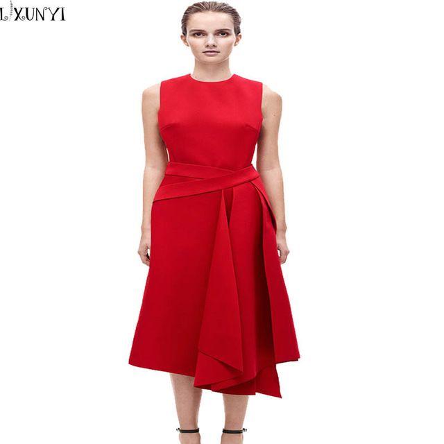 2017 verano vitoria beckham dress nuevo europeo alta calidad runway dress verano irregular dress largo sin mangas dress vestido de