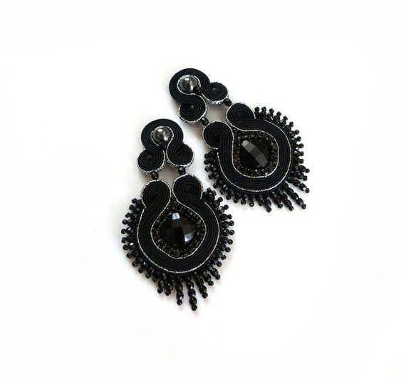 Long black clip on earrings soutache dangle & drop by sutaszula