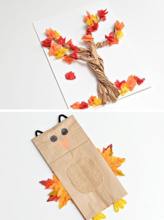 3-D-Papiertüte Baum | 22 Einfache Herbst Basteln für Kinder zu machen | DIY Herbst Basteln für Kinder mit Blättern