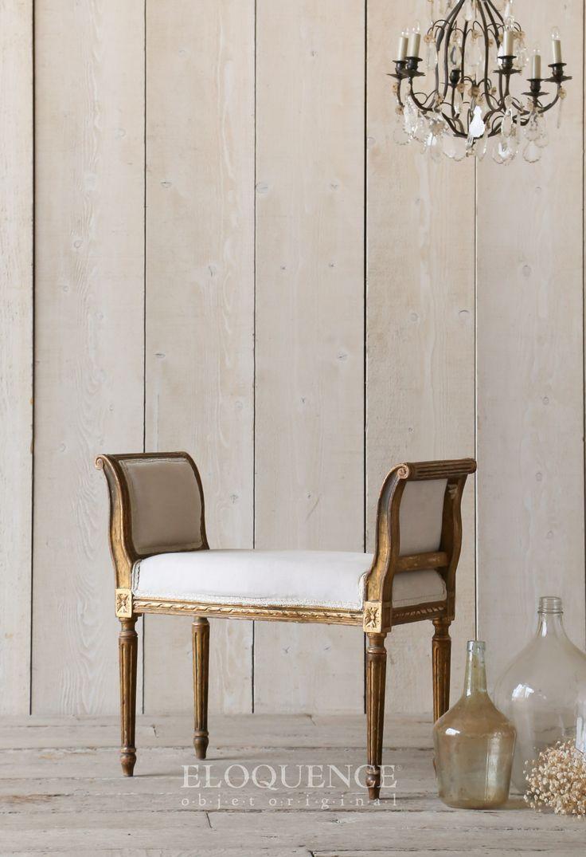 ELOQUENCE  BQV5107 Www.eloquenceinc.com Vintage Banquette Stunning Vanity  Chair In Original Gold