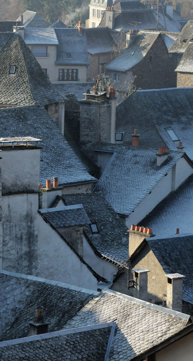 Estaing, France .... Looks like à painting of a thief escaping through the roof from painter Botero