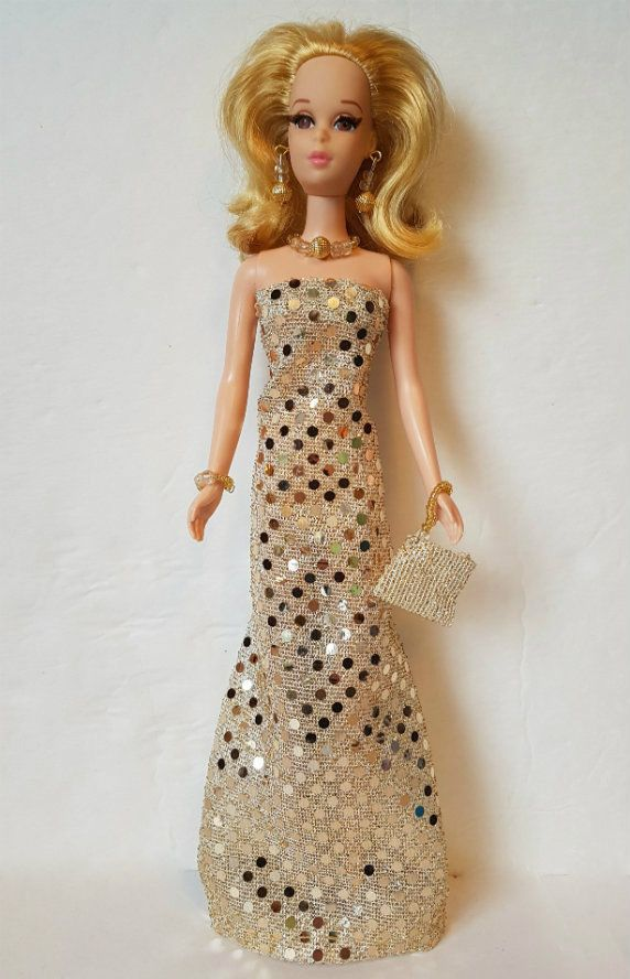 FRANCIE DOLL CLOTHES Gold Gown, Purse & Jewelry fits Casey Fashion NO DOLL d4e #DOLLS4EMMMA #Clothing