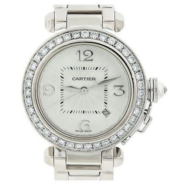 Pre-Owned Cartier Pasha De Cartier 2528 Diamond Bezel 18k White Gold... (199,340 BOB) ❤ liked on Polyvore featuring jewelry, watches, white, white wrist watch, preowned watches, diamond bezel watches, white jewelry and skeleton watches