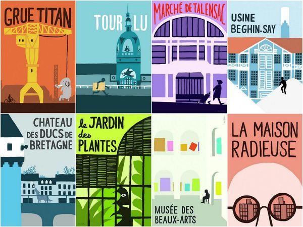 Nantes posters by Jean Jullien à afficher dans des cadres en bois clair (Tour LU, grue titan...)