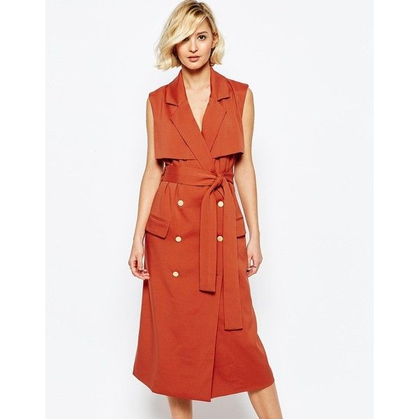 Lavish Alice Sleeveless Trench Coat with Gold Buttons (425 BRL) ❤ liked on Polyvore featuring outerwear, coats, teracotta, lavish alice, sleeveless trench coat, trench coat, sleeveless coat and white coat