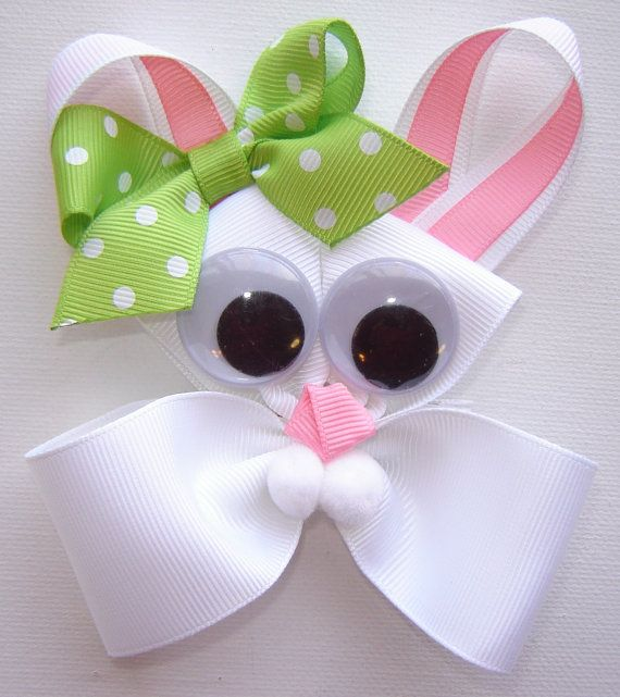 Girl's Beatrice Bunny White Ribbon Large Sculpture Boutique Hair Bow w/Apple Green Polka Dot Bow