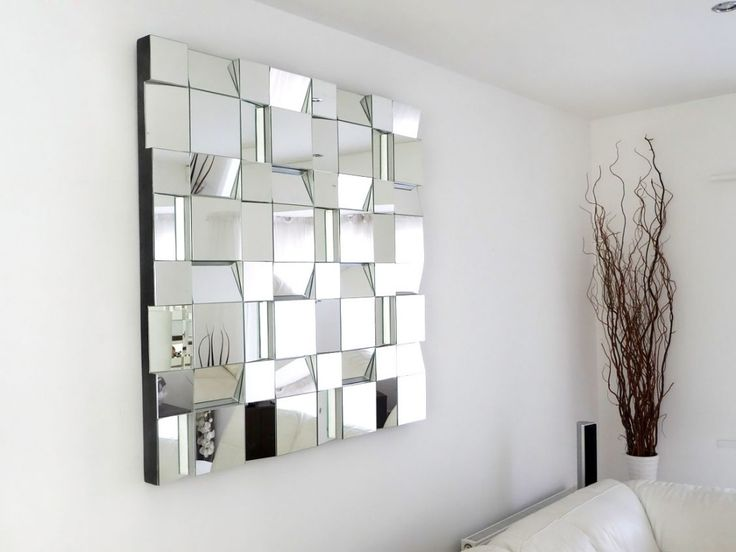 Creative Mirror Tile For Living Room With Dried Twig Decor On White Vase Near Sofa And Wall Decorating Ideas Plus Plain Wall Paint