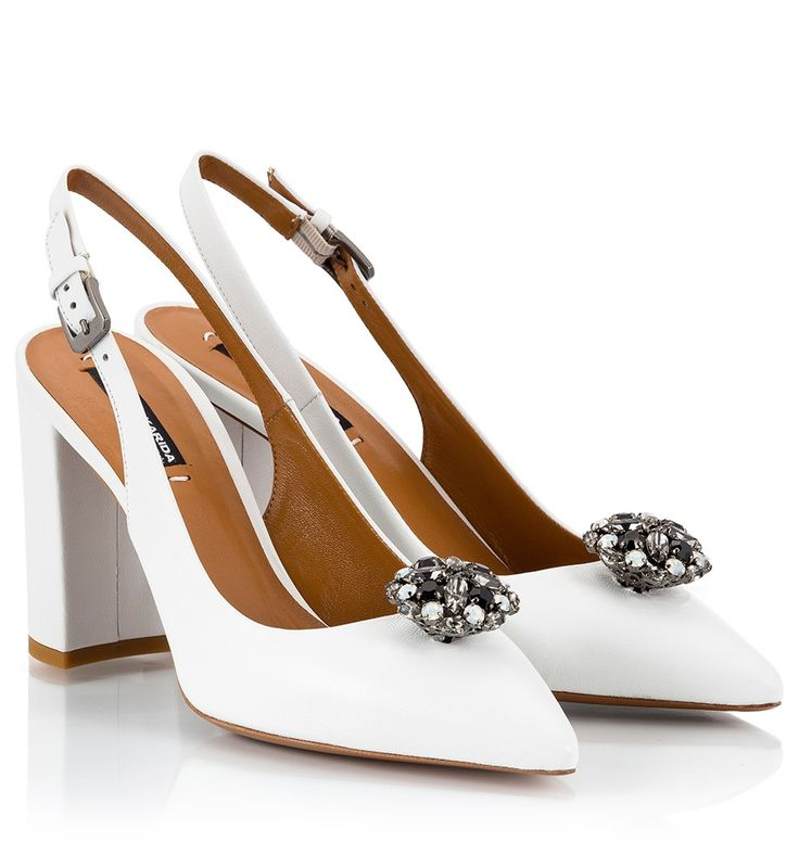 These Fratelli Karida high heel pointy pumps have been hand made in Italy from the smoothest white nappa leather. The elegant slingback pair is decorated with a crystal embellishment and is set on a comfortable block heel. Show yours off with ankle gazing jeans or dresses.
