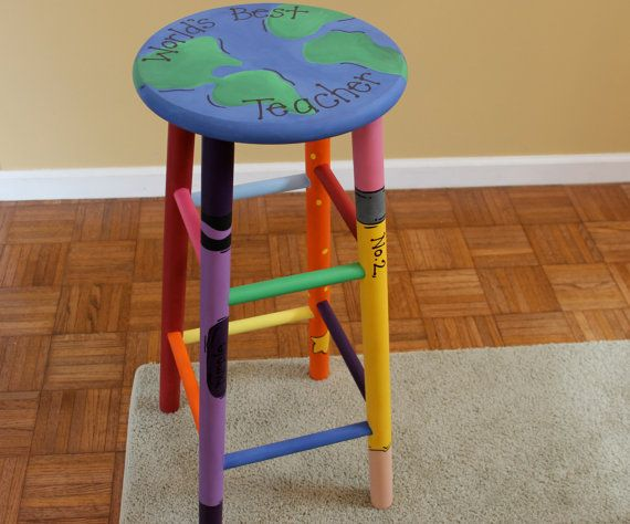 Hand-painted 24'' Wooden World's Best Teacher Stool