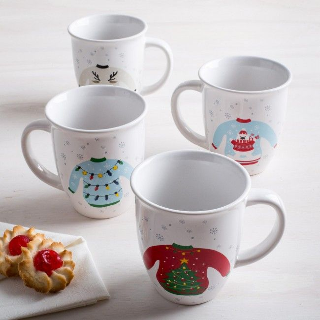 Serve your favourite treats on these ugly sweater mugs at your ugly sweater party this holiday season. Perfect for a hot chocolate after building a snowman, a warm cup of tea with friends and family or just for serving coffee on an early Christmas morning.