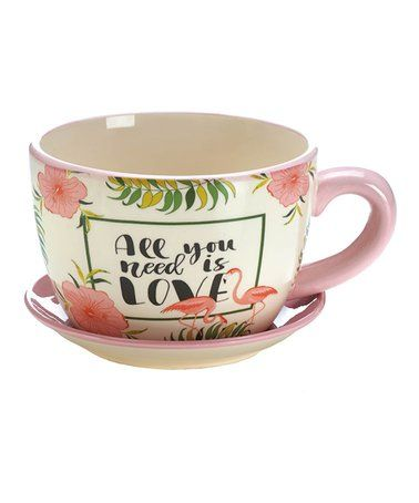Look at this #zulilyfind! Pink Flamingo 'All You Need Is Love' Teacup Planter #zulilyfinds