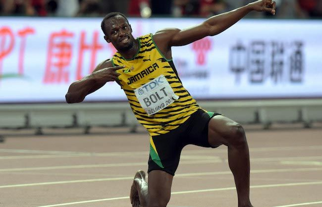 Usain Bolt celebrating his victory after a match win...