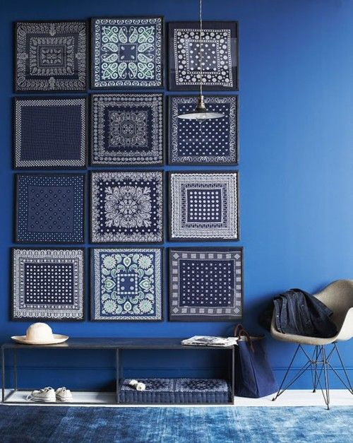 Blue patterns and prints as wall art