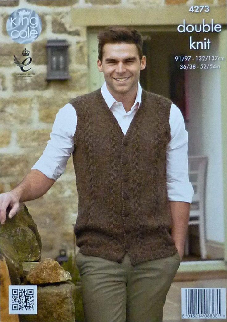 Mens Knitting Pattern K4273 Mens Sleeveless V-Neck Cable Waistcoat Knitting…