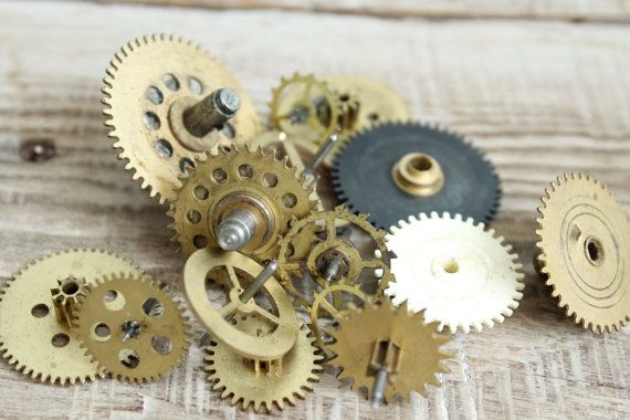 15 dial supplies ... vintage Brass Clock Gears Wheels ... Steampunk Jewelry Findings set of 15  ... circle dials ... steampunk supplies