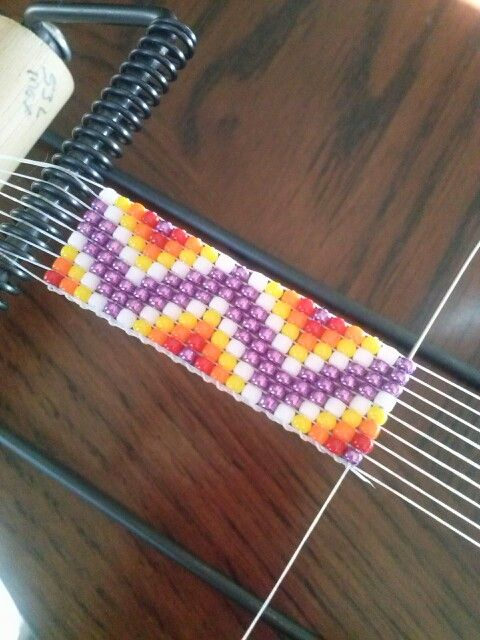 Bead loomed purple chevron