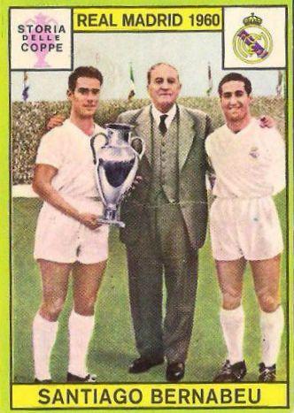 JUGADORES R. MADRID CON SANTIAGO BERNABEU -  Ed. Panini - 1960