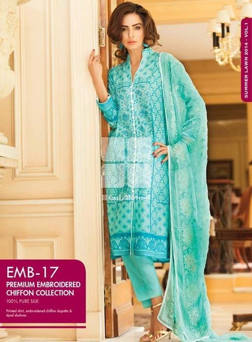 Gul Ahmed Premium Embroidered Lawn Dresses 2014 For Women These are the casual pakistani wear...pretty cool