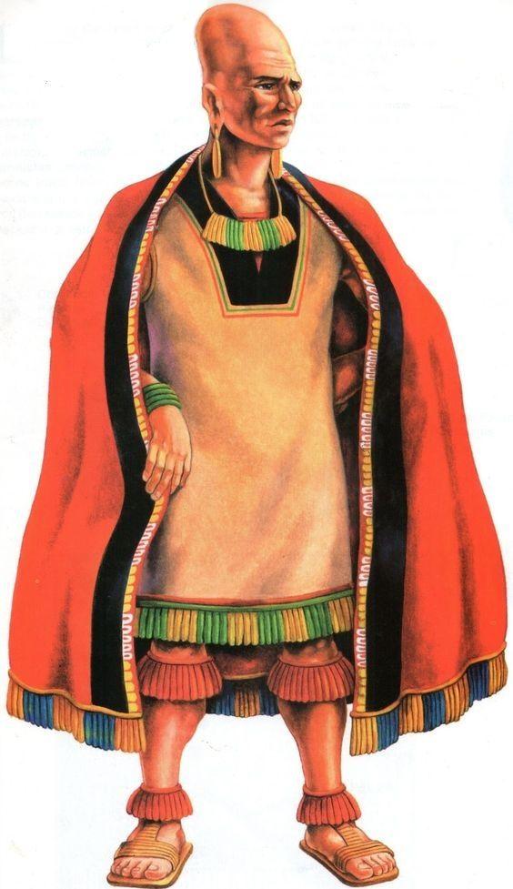 Nobre Paracas, reconstituição artística, cultura Paracas, Peru. Representação dos fabulosos têxteis usando algodão (que eles cultivavam em campos irrigados) e lã de vicunha e alpaca, os Paracas produziram tecidos e mantas multicoloridos. As cores eram obtidas com corantes naturais produzidos a partir de plantas e minerais resultando em mais de 190 tonalidades de verdes, azuis, vermelhos, amarelos, marrons etc. Os têxteis eram considerados um símbolo de status e riqueza.