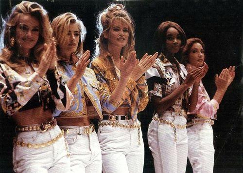 80s-90s-supermodels:  Versace, early 90sModels: Karen Mulder, Elaine Irwin, Claudia Schiffer, Beverly Peele & Marpessa Henink