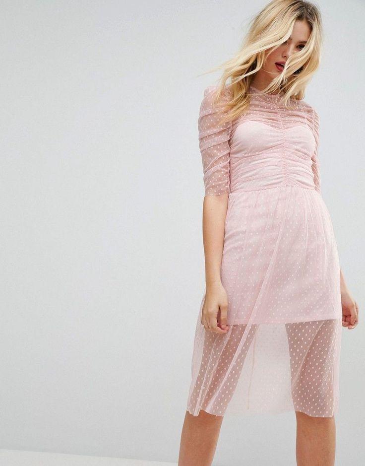 ASOS Ruched Midi Dress In Spot Mesh - Pink
