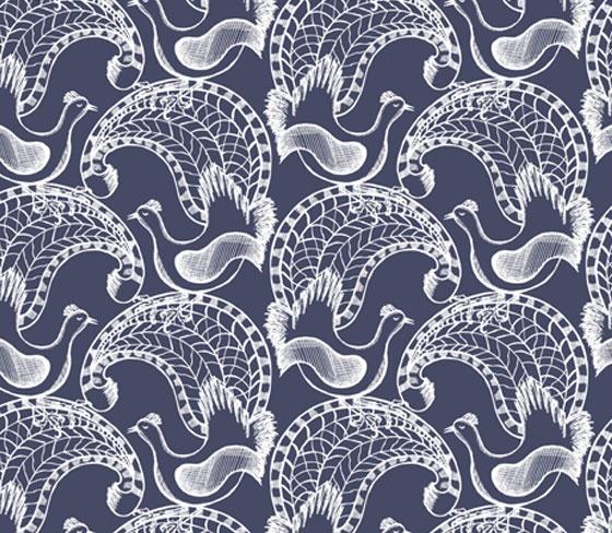 Funky wombat textiles - lyrebirds