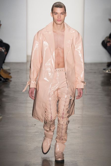 Baby pink vinyl jacket and pants for men - this is daring! | High ...