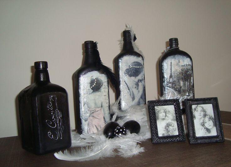 Altered decoupage bottles