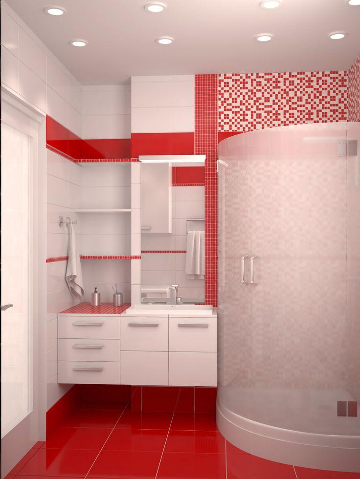 Bathroom desing Red bathroom Красная ванная комната