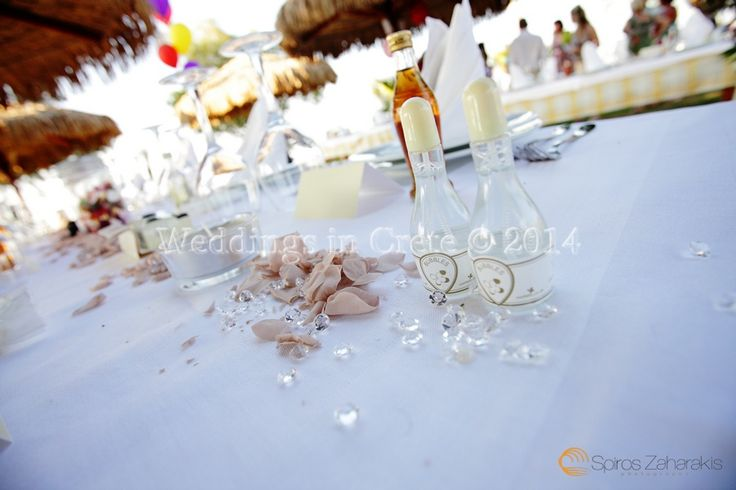 Weddings in Crete - Table Decorations and Bubbles