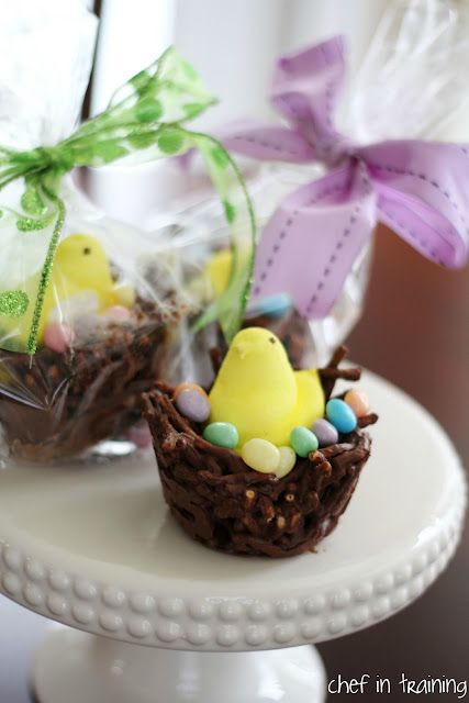No-Bake Chocolate Egg Nest Cookies using a muffin tin to make them big enough to fit a peep in!  A great recipe for the whole family!