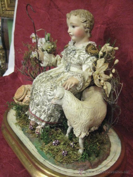 Precioso Niño Jesus partorcito del S. XIX metido en un fanal ( circa 1850 )