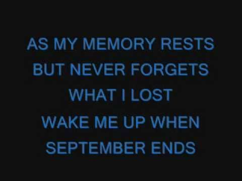 Green Day-Wake Me Up When September Ends lyrics- most people do not know the meaning behind this song- lead singer of green day- Billy Joe Armstrong lost a parent in September of 1982- not being able to deal with this loss- locked himself in his room and asked other to wake him up when September ends- #sadness #parentloss