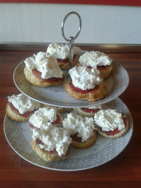 Home made scones with jam and cream