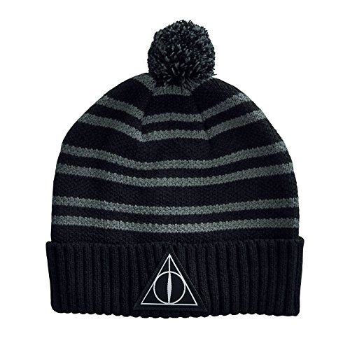 596f940fe4adc5 Harry Potter Mütze Deathly Hallows Symbol Strick mit Bommel Elbenwald  schwarz. lizenzierte Harry Potter Mütze