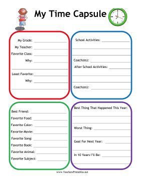 Students in any grade can record their favorites, classes, friends and memories of school with this printable time capsule worksheet. Free to download and print