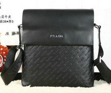 Prada Calfskin Leather Messenger Bag P88081 Black