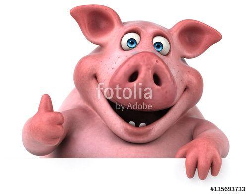 """Téléchargez la photo libre de droits """"Fun pig - 3D Illustration"""" créée par julien tromeur au meilleur prix sur Fotolia.com. Parcourez notre banque d'images en ligne et trouvez l'image parfaite pour vos projets marketing !"""