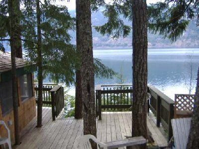 Cottage on the lake - love the deck built around the trees