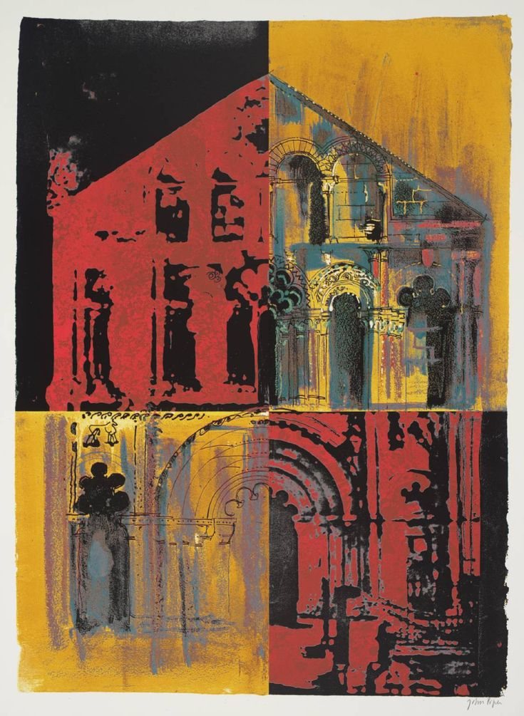 'Petit Palais: Pink and Yellow' (1972) by British artist John Piper (1903-1992). Screenprint on paper, 782 x 572 mm. via the Tate