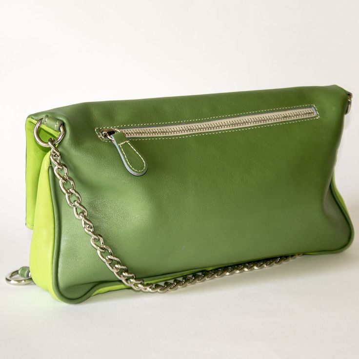 Duotone Green and Lime Flap Shoulder Leather Bag