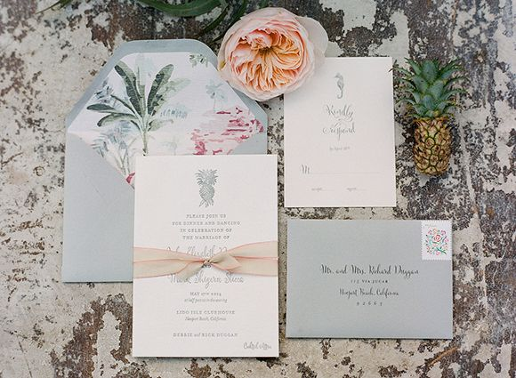 Tropical chic newport reception party magnolia rouge for Wedding invitations newport beach