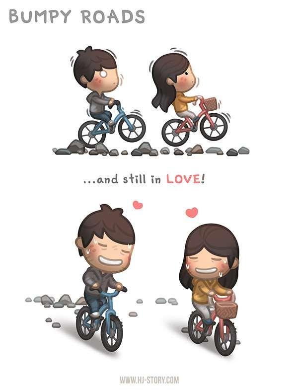 Caminos llenos de baches... Y aun enamorados