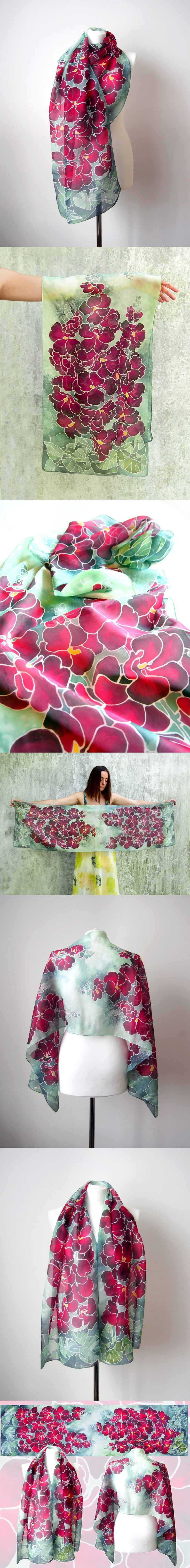 #hollyhock #scarf #handmade and #handpainted by #polish #artist Luiza #malinowska #minkulul #pink #flowers on #mint background