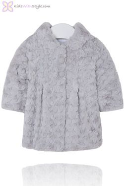 Baby Girl Faux Fur Grey Rosette Coat