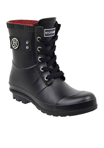 f8342ed6537 Stay stylish and dry with these fashionable rain boots by Tommy Hilfiger.