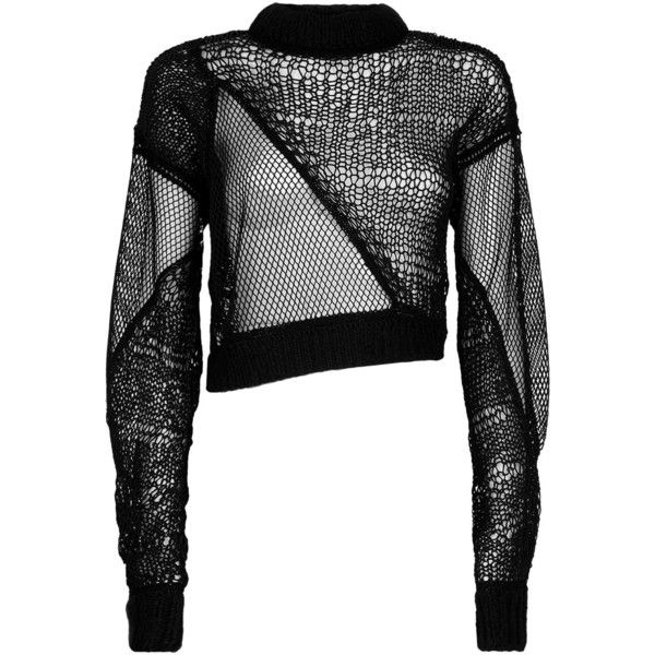 Helmut Lang Siouxie Fishnet Sweater ($635) ❤ liked on Polyvore featuring tops, sweaters, helmut lang sweater, patchwork sweaters, long sleeve crew neck sweater, white sweater and white top