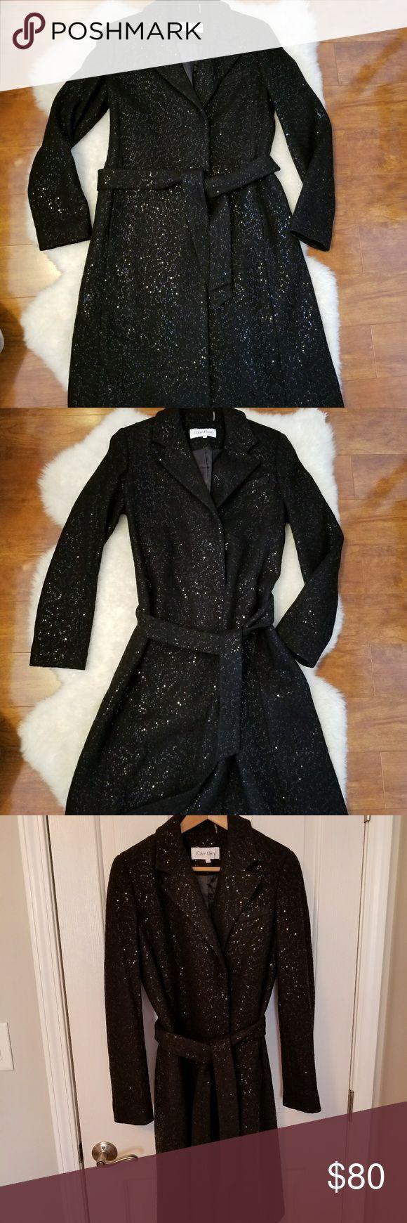 Calvin Klein Black Sequin Coat Size 4 Calvin Klein Black Sequin Coat Size 4 Calvin Klein Jackets & Coats Trench Coats