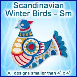 A Scandinavian Winter Birds Design Pack - Sm design (X13069) from www.Emblibrary.com