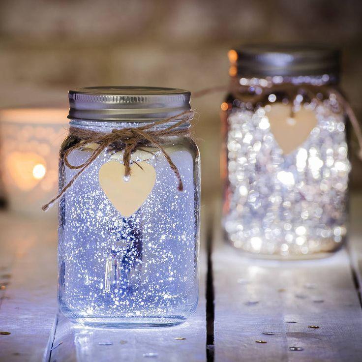 Sparkle Led Jam Jar Light In 2020 Jar Lights Fairy Lights In A Jar Tea Lights